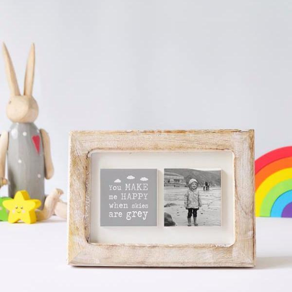 Periwinkle and Clay Photo + Message Tiles You Make me Happy Clay Tile Photo Frame