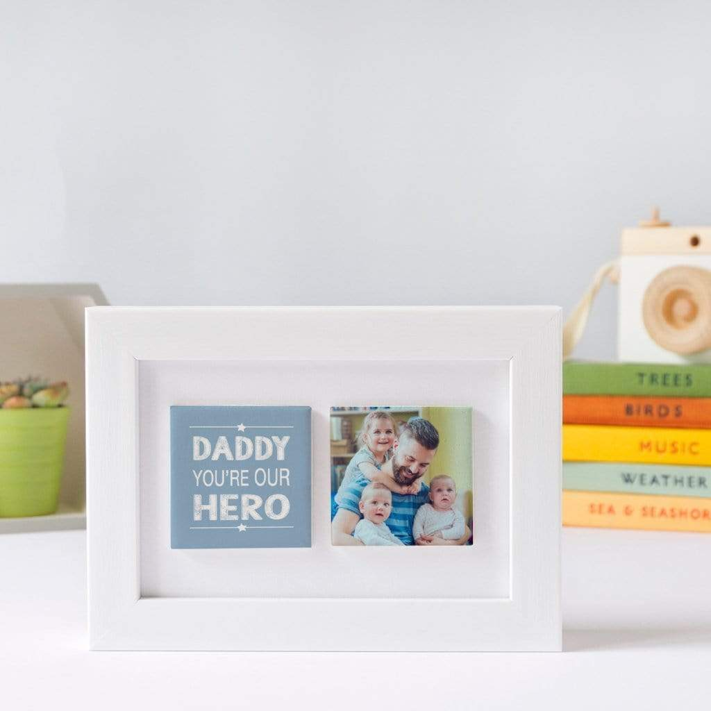Periwinkle and Clay Photo + Message Tiles You're Our Hero Clay Tile Photo Frame