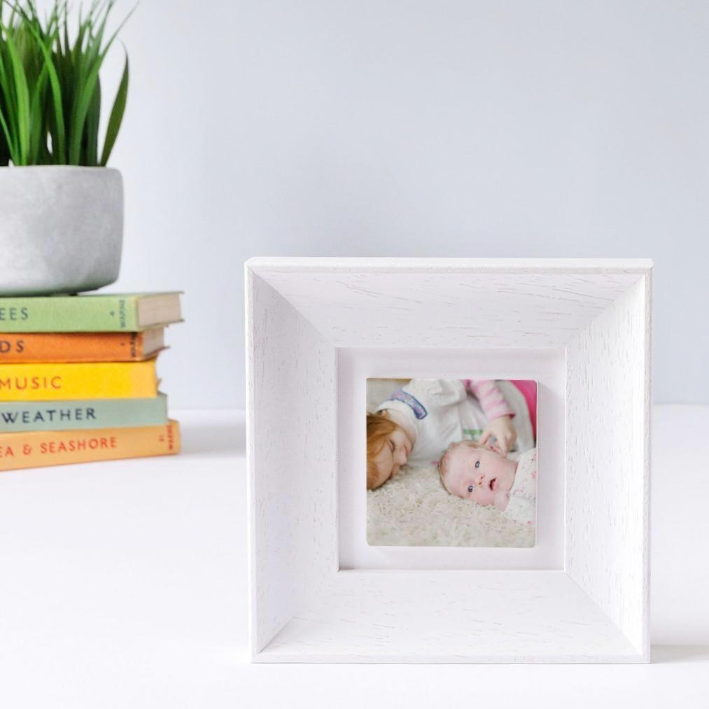 Periwinkle and Clay Photo Tiles Personalised White Soft Curve Single Clay Tile Photo Frame