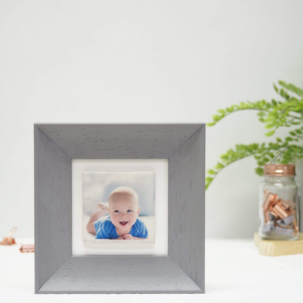 Periwinkle and Clay Photo Tiles Single Tile Photo Frame / Grey Soft Curve