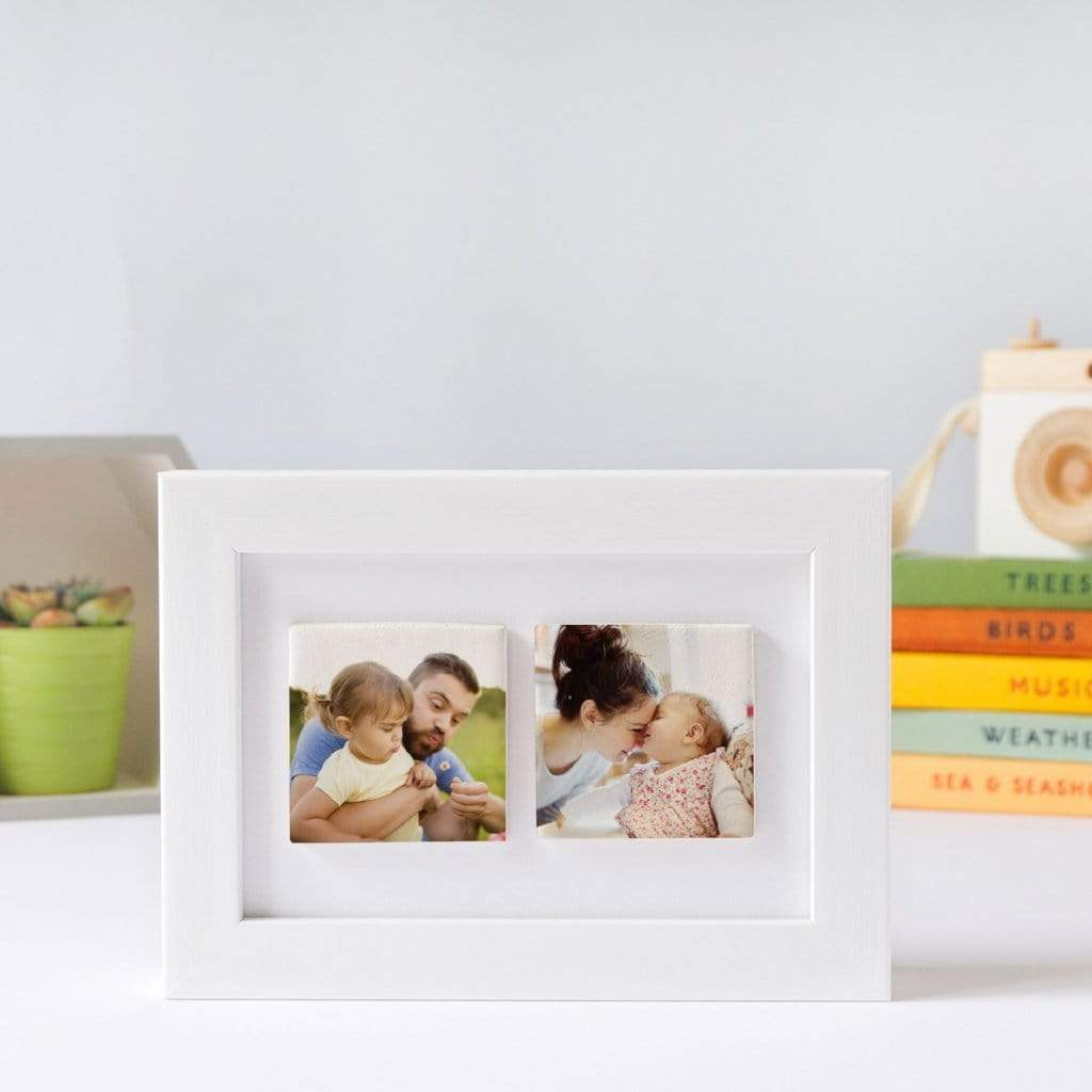 Periwinkle and Clay Photo Tiles Two Tile Photo Frame / White Box / Photos Only