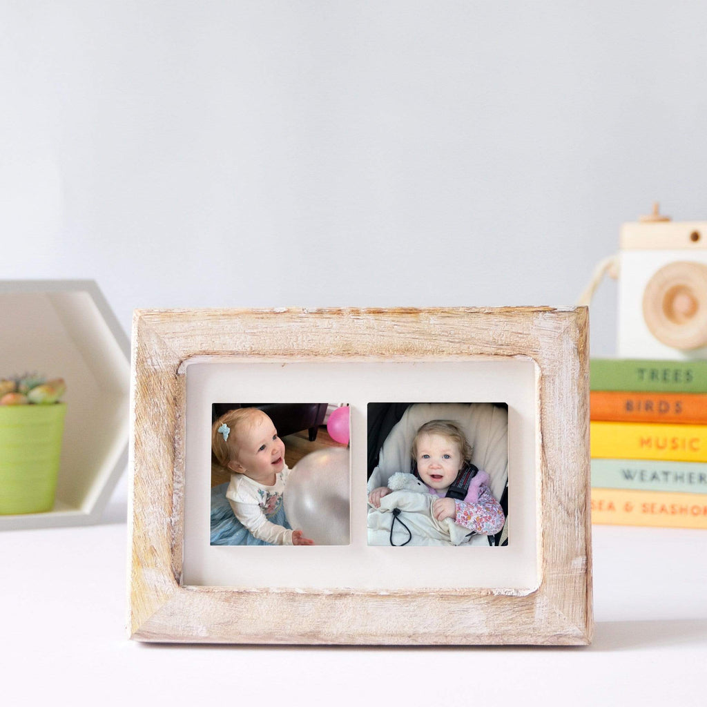 Periwinkle and Clay Photo Tiles Two Tile Photo Frame / White-Washed Wood / Photos Only