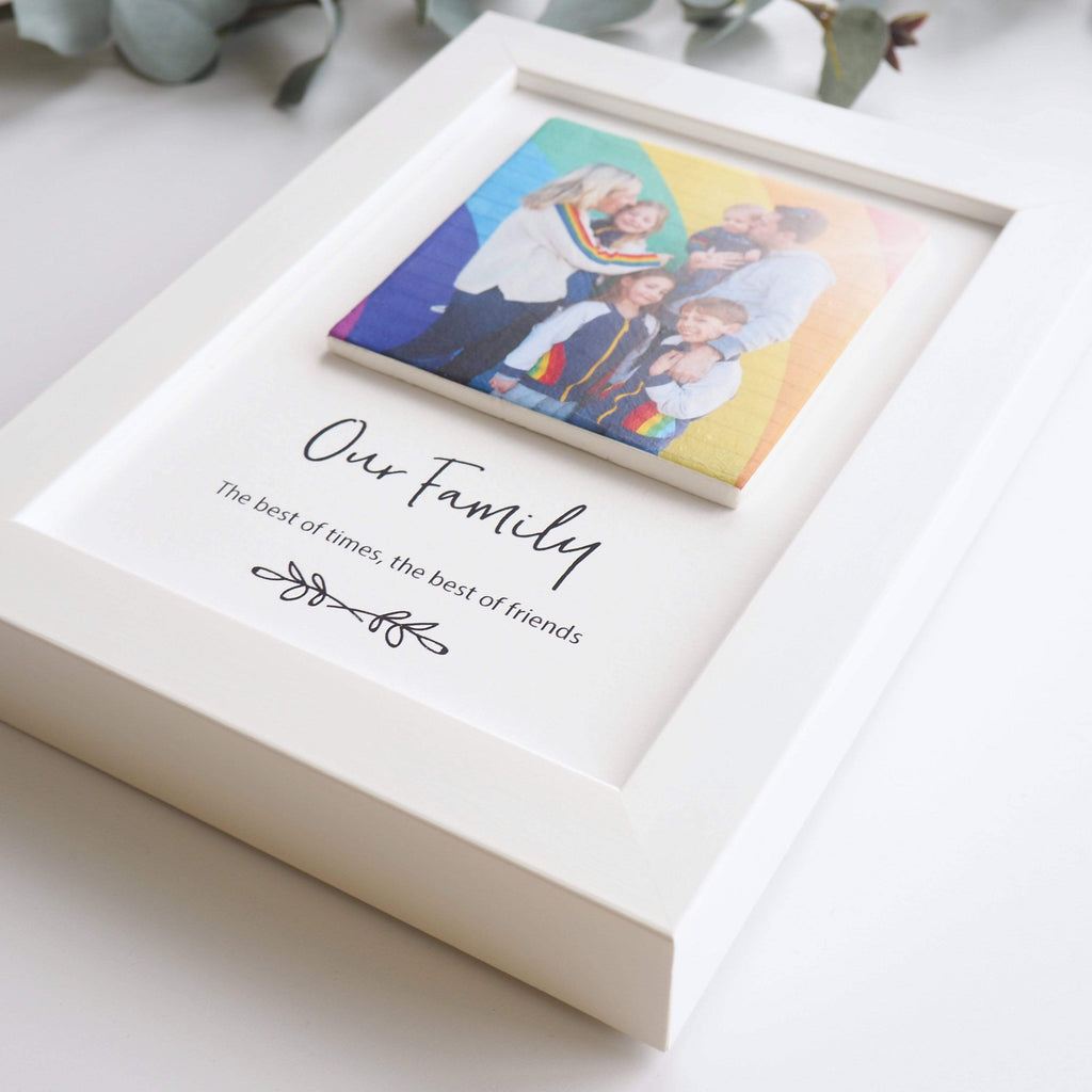 Periwinkle and Clay Print & Clay Photo Tile Family Personalised Print & Clay Tile Photo Frame