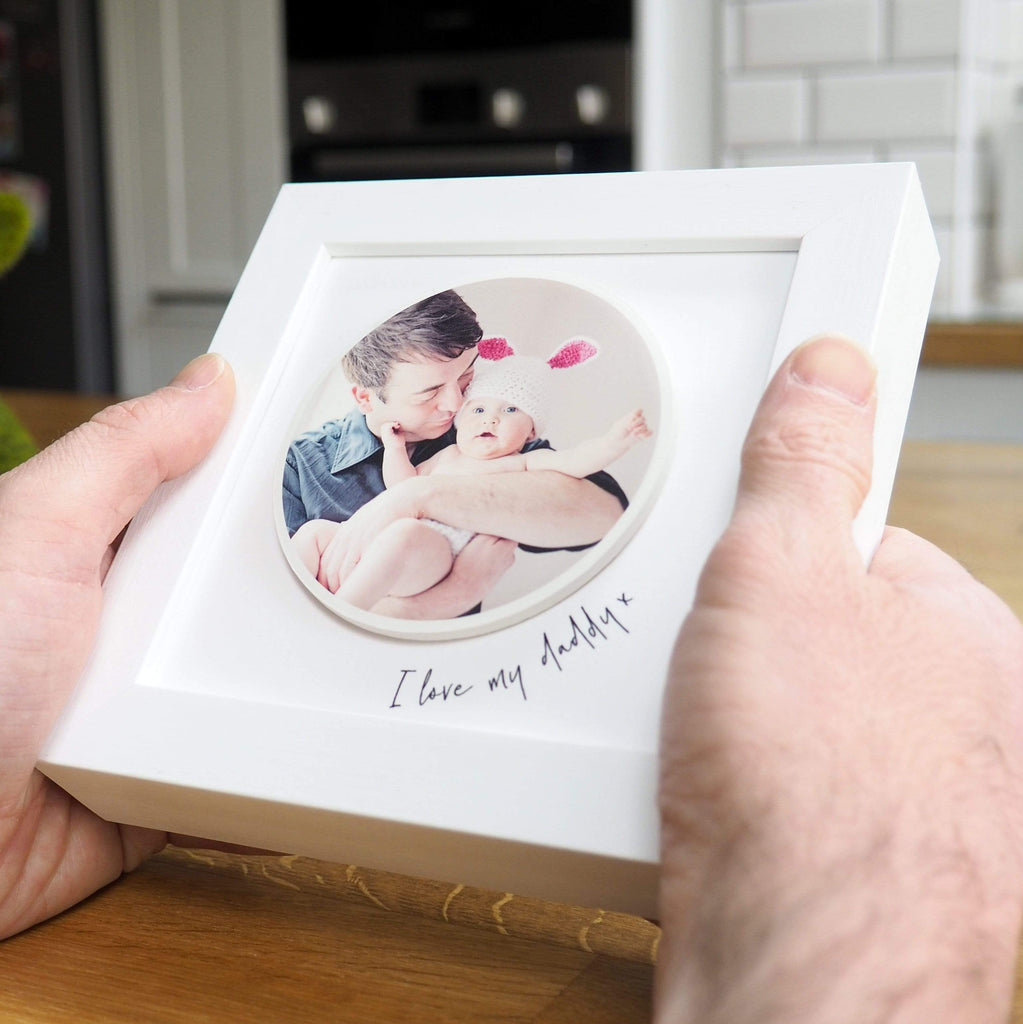 Periwinkle and Clay Print & Clay Photo Tile I love Daddy Personalised Circle Photo White Box Frame