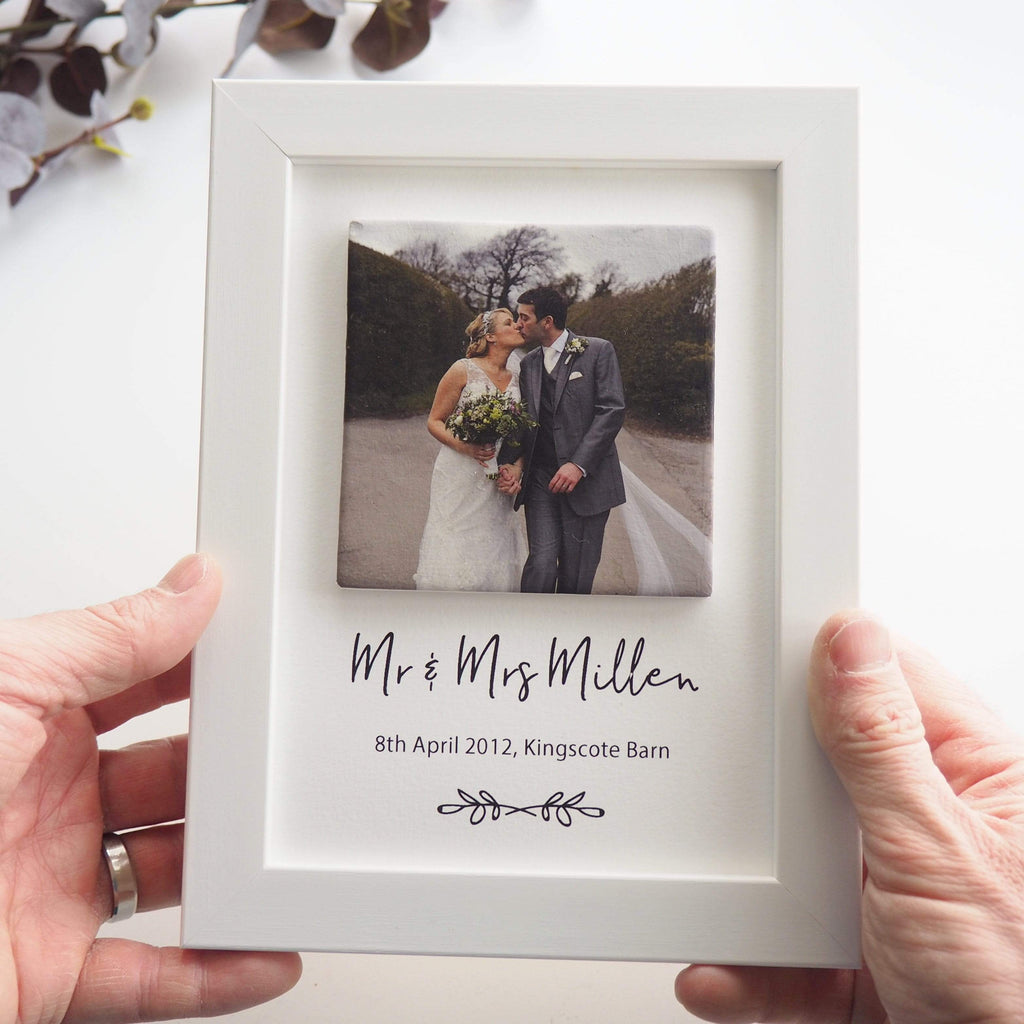 Periwinkle and Clay Print & Clay Photo Tile Mr & Mrs Personalised Print & Clay Tile Photo Frame