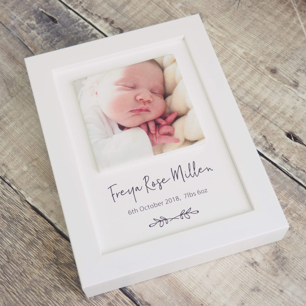 Periwinkle and Clay Print & Clay Photo Tile New Baby Personalised Print & Clay Tile Photo Frame