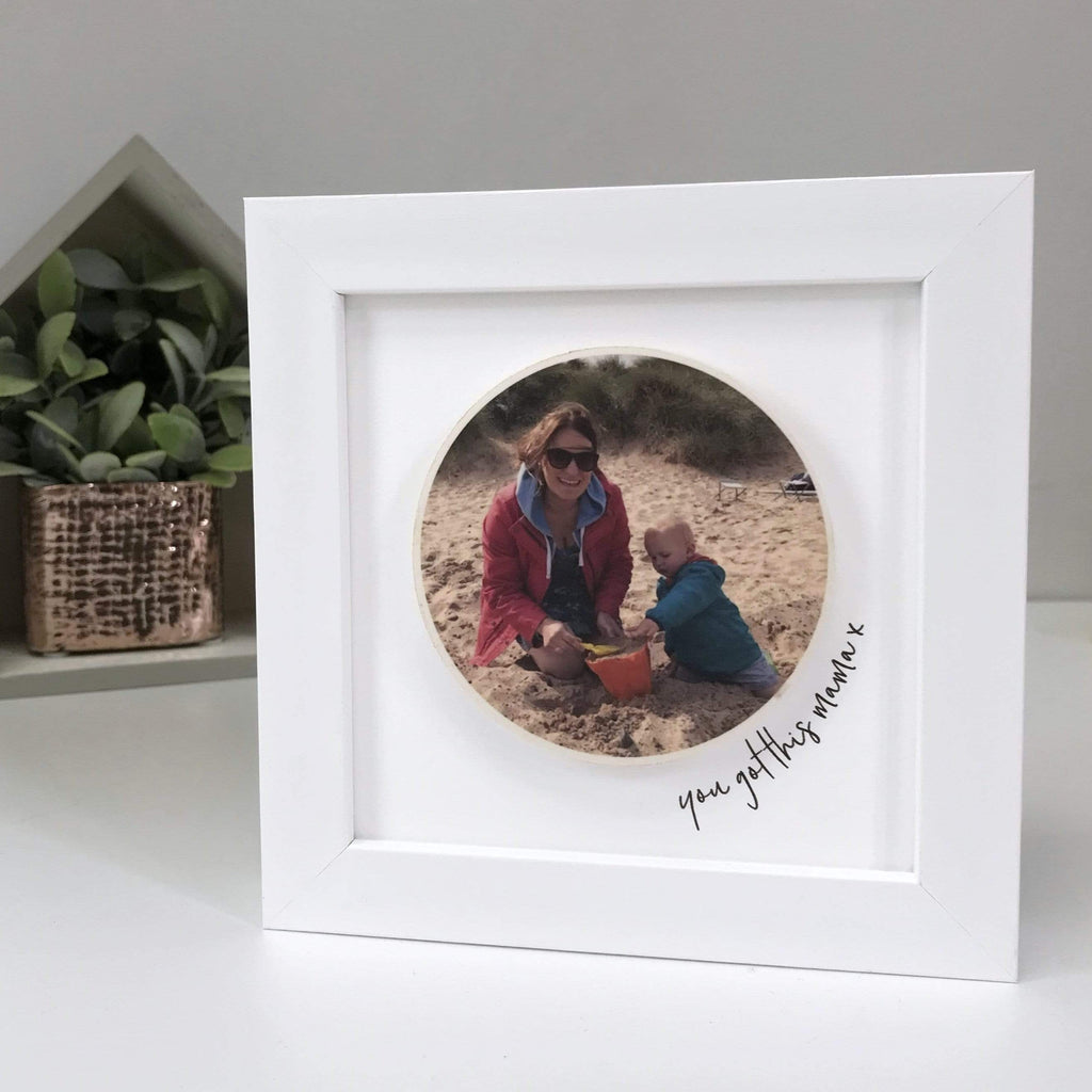 Periwinkle and Clay Print & Clay Photo Tile Personalised Circle Photo White Box Frame