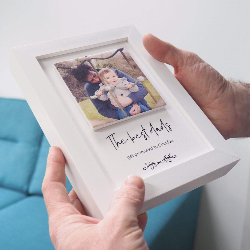 Periwinkle and Clay Print & Clay Photo Tile Promoted to Grandad Personalised Print & Clay Tile Photo Frame