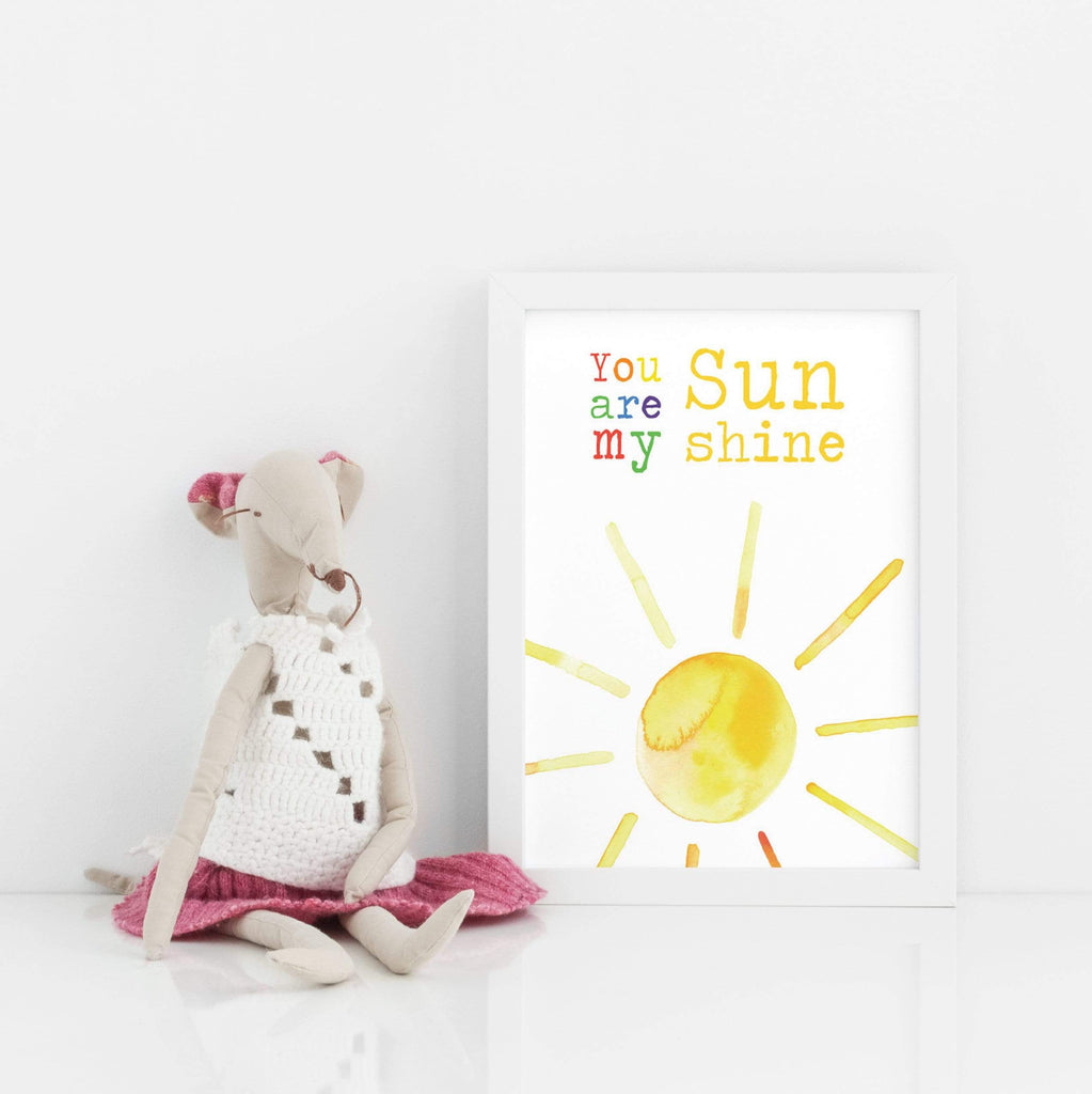 Periwinkle and Clay Prints You are my Sunshine Print