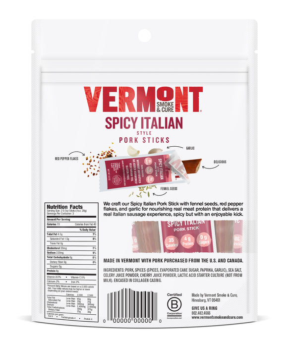 Spicy Italian Pork 0.5 oz Mini Meat Stick Go Packs (6 count, 8 packs) Package Back