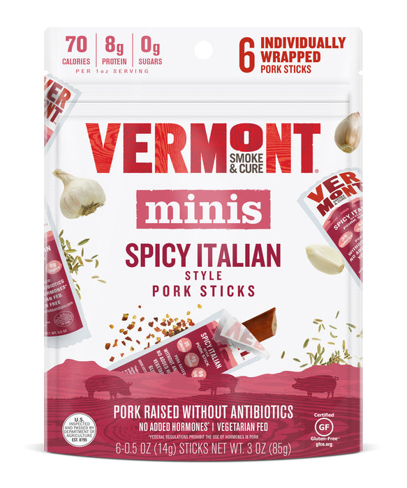 Spicy Italian Pork 0.5 oz Mini Meat Stick Go Packs (6 count, 8 packs) PAckage