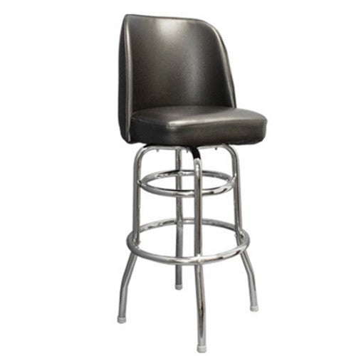Tremendous Chrome Plated Round Steel Tubing Swivel Bar Stool W Black Vinyl Andrewgaddart Wooden Chair Designs For Living Room Andrewgaddartcom