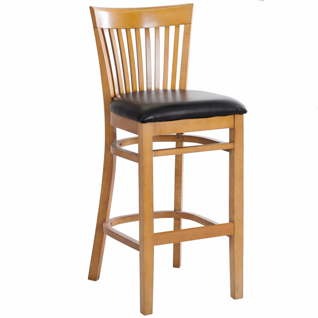 Wondrous Mk6239Bs Cherry Finished Vertical Slat Back Wooden Restaurant Barstool With Black Vinyl Seat Squirreltailoven Fun Painted Chair Ideas Images Squirreltailovenorg