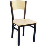 MKM836F Solid Wood Back Metal Chair with Natural Wood Seat