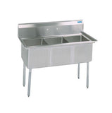 "BK Resources Three Compartment Sink with No Drainboard - 18"" x 18"" Compartment"