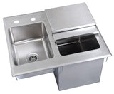 "BK Resources BK-DIBHL-2118 Drop-In Ice Bin, with sink, 21""W x 18""D x 12""D, 18/304 stainless steel base, 14/304 stainless steel top - Champs Restaurant Supply 