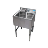 "BK Resources BKUBS-224S 24"" Underbar Sink with 2 Bowls and 1 Faucet with No Drainboard - Champs Restaurant Supply 