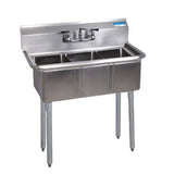 "BK Resources 10"" x 14"" x 10"" Three Compartment Sink with No Drainboard"
