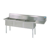 "BK Resources Three Compartment Sink with Right Drainboard - 18"" x 18"" Compartment - Champs Restaurant Supply 