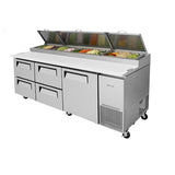 "Turbo Air TPR-93SD-D4-N 93"" Four Drawers Pizza and Single Door Prep Table"