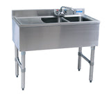 "BK Resources BKUBW-236LS Two Compartment 36"" Slim-Line Underbar Sink with Left Drainboard - Champs Restaurant Supply 