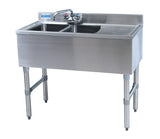 "BK Resources BKUBW-236RS Two Compartment 36"" Slim-Line Underbar Sink with Right Drainboard - Champs Restaurant Supply 