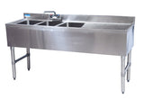 "BK Resources BKUBW-348RS Three Compartment 48"" Slim-Line Underbar Sink with Right Drainboard - Champs Restaurant Supply 