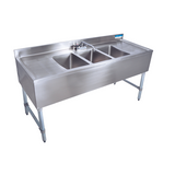 "BK Resources BKUBS-396TS 96"" Underbar Sink with 3 Bowls and 1 Faucet with Two Drainboard"