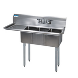 "BK Resources BKS-3-1014-10-15L 3 Compartment Sink w/15"" Left Drainboard"