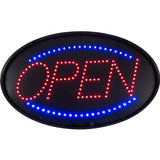Blue and Red Oval Open LED Sign