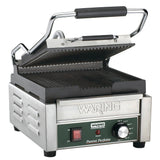 "Waring WPG150 9-3/4"" x 9-1/4"" Grooved Top & Bottom Panini Sandwich Grill - Champs Restaurant Supply 