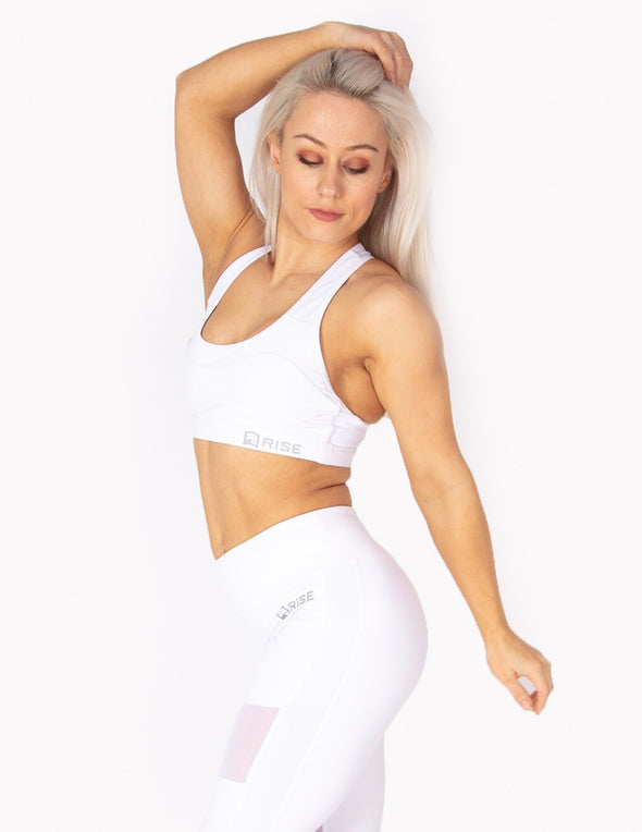 RACERBACK SPORTS BRA - WHITE - Rise Above Fear, High Performance Activewear, Sportswear