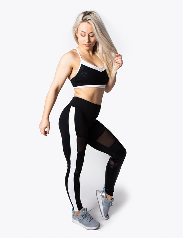 MESH PANEL HIGH RISE LEGGINGS - BLACK - Rise Above Fear, High Performance Activewear, Sportswear