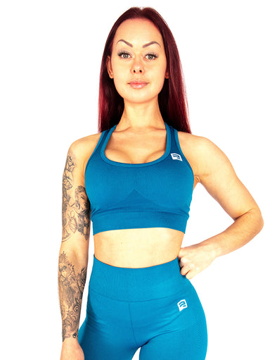 SEAMLESS '3D FIT' SCULPT SPORTS BRA - AZURE BLUE