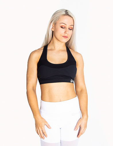 RACERBACK SPORTS BRA - BLACK - Rise Above Fear, High Performance Activewear, Sportswear