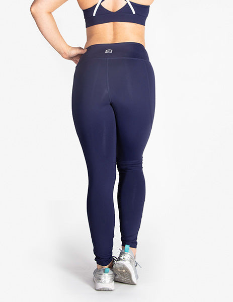 MESH PANEL MID RISE LEGGINGS - NAVY - Rise Above Fear, High Performance Activewear, Sportswear