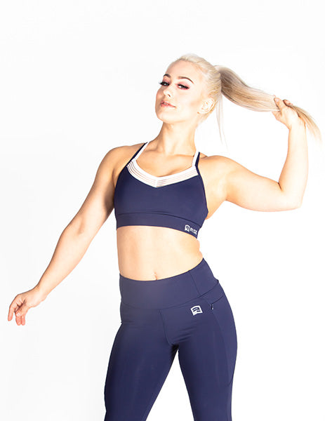 MESH RACERBACK SPORTS BRA - NAVY - Rise Above Fear, High Performance Activewear, Sportswear