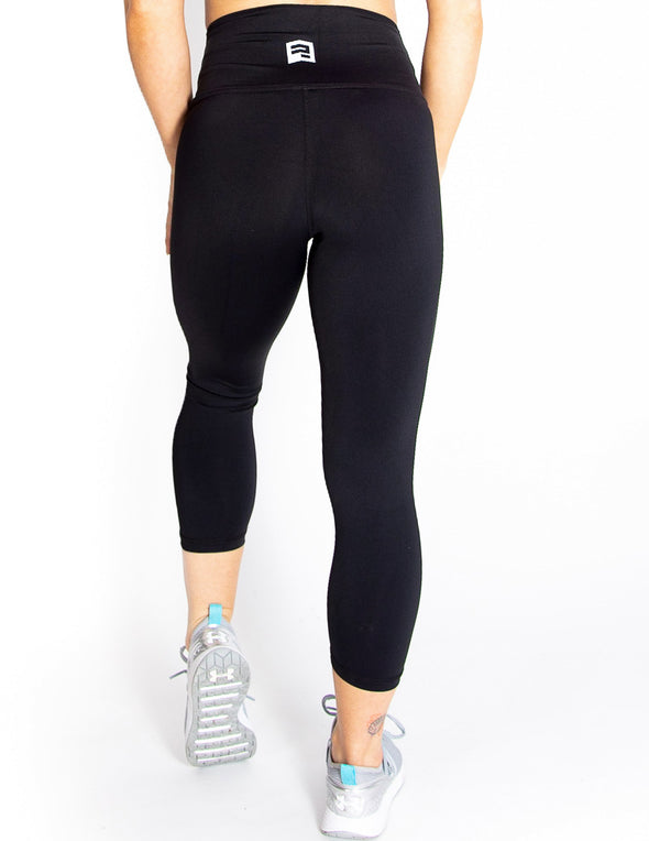 HIGH RISE CAPRI LEGGINGS - BLACK - Rise Above Fear, High Performance Activewear, Sportswear
