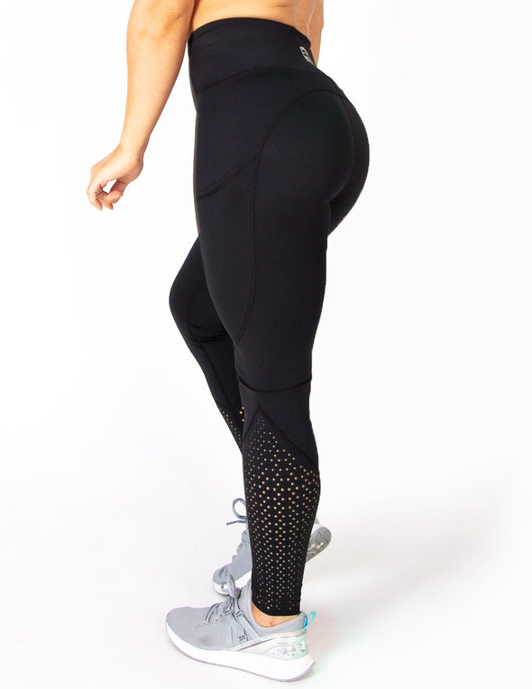 EYELET HIGH RISE LEGGINGS - BLACK - Rise Above Fear, High Performance Activewear, Sportswear