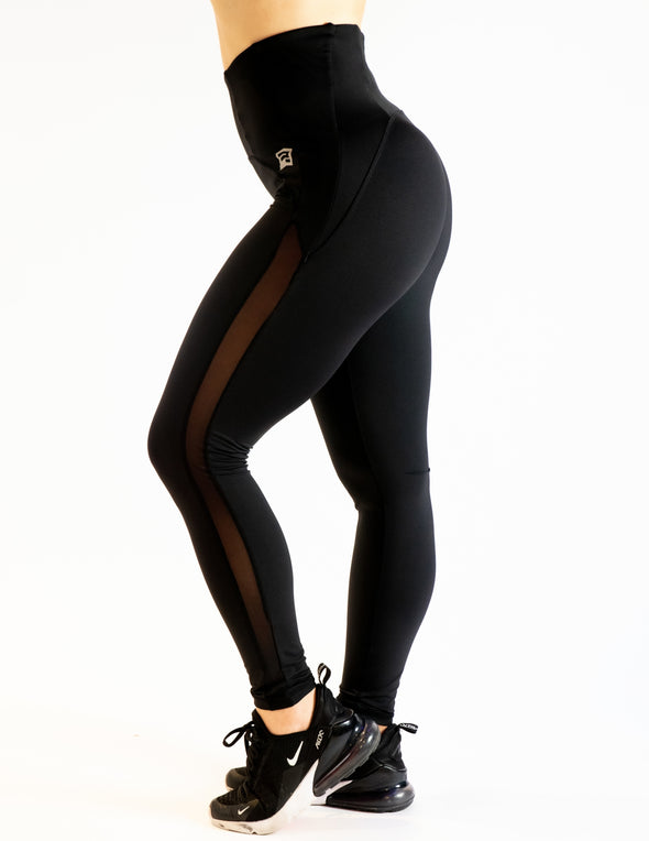 MESH PANEL HIGH RISE LEGGINGS - BLACK