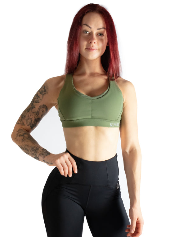 CRISS CROSS SPORTS BRA - LEAF GREEN