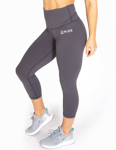 HIGH RISE CAPRI LEGGINGS - GREY - Rise Above Fear, High Performance Activewear, Sportswear