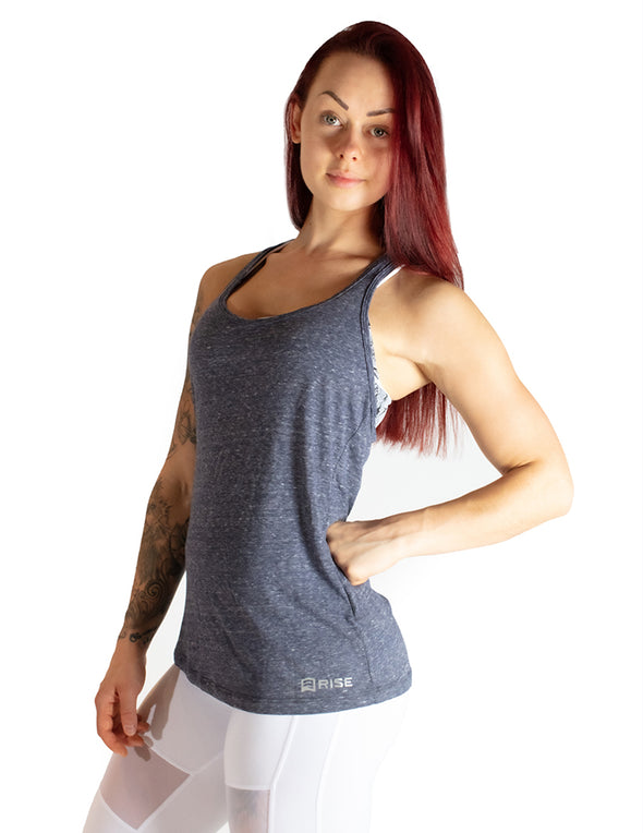 RACERBACK VEST TOP - DARK GREY MARL