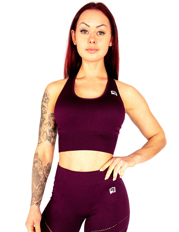 SEAMLESS SCULPT SPORTS BRA - MULBERRY