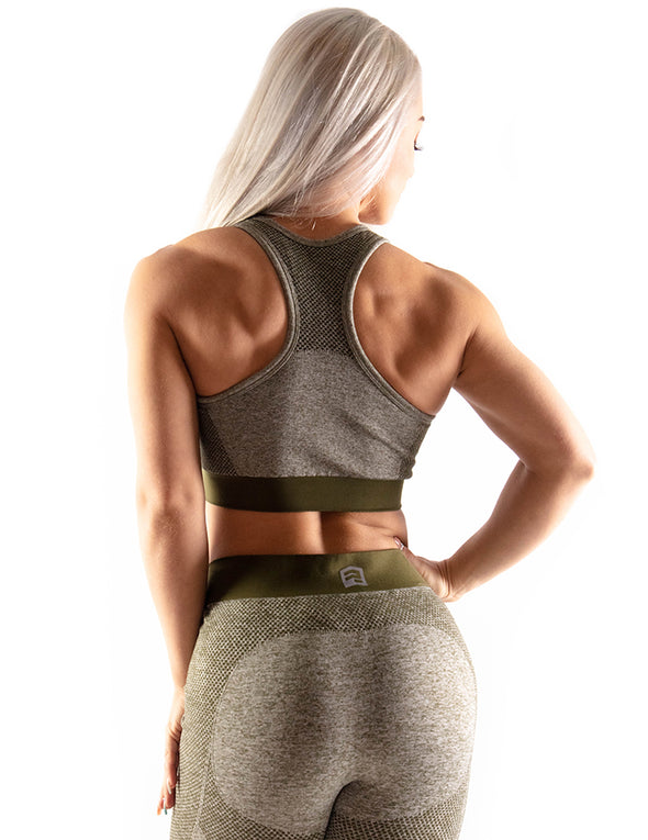 SEAMLESS SCULPT SPORTS BRA - OLIVE