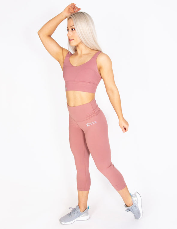 HIGH RISE CAPRI LEGGINGS - DUSTY ROSE - Rise Above Fear, High Performance Activewear, Sportswear