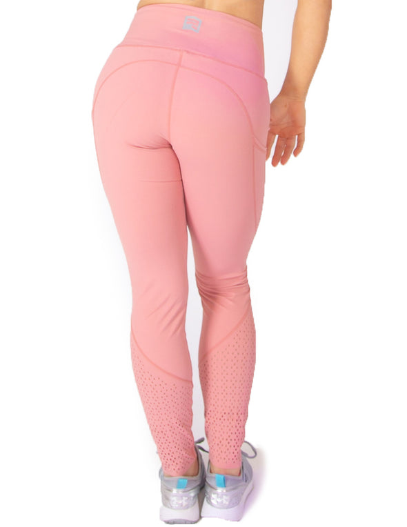 EYELET HIGH RISE LEGGINGS - PINK - Rise Above Fear, High Performance Activewear, Sportswear