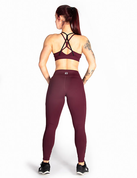 MESH PANEL MID RISE LEGGINGS - RED - Rise Above Fear, High Performance Activewear, Sportswear