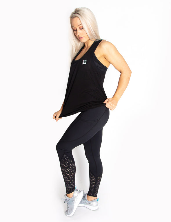 MESH SLEEVELESS T-SHIRT - BLACK - Rise Above Fear, High Performance Activewear, Sportswear
