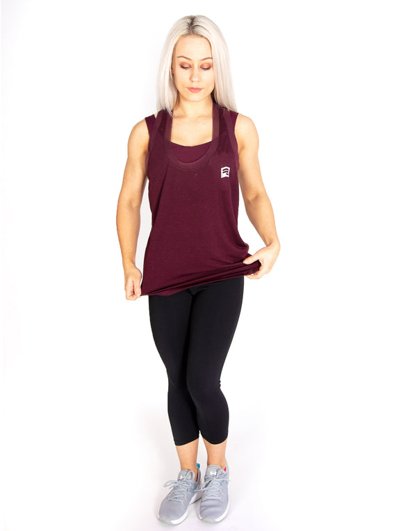 MESH SLEEVELESS T-SHIRT - MAROON - Rise Above Fear, High Performance Activewear, Sportswear